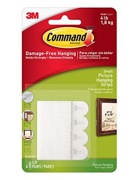 Command Small Picture Hanging Strips, 4 Pairs   White by Command