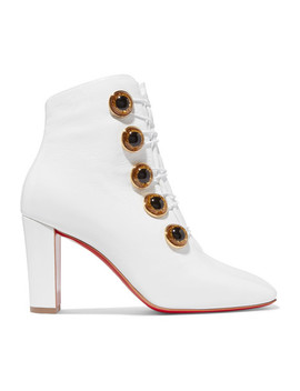 Lady See 85 Patent Textured Leather Ankle Boots by Christian Louboutin