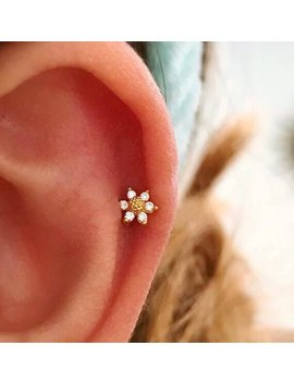 Cz Mini Sunflower Cartilage Earring, Small Tragus Earring, Dainty Barbell Flower Stud, Helix Daith Conch Earring, Tiny Flower Tragus Earring by Shop Origami Jewels