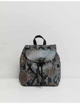 Asos Design Mini Leather Snake Backpack by Asos Design