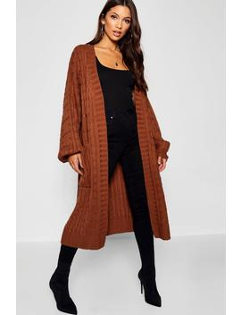 Cable Knitted Midi Cardigan by Boohoo