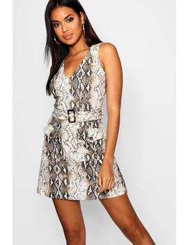 Snake Double Pocket Belted Dress by Boohoo