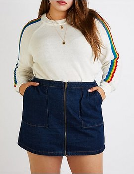 Plus Size Rainbow Striped Sweater by Charlotte Russe