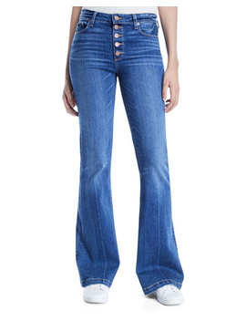 Genevieve Flare Leg Jeans With Button Fly by Paige