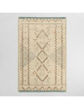 Natural And Jade Green Diamond Flatweave Jute Blend Area Rug by World Market