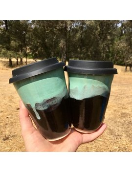 Ceramic Lidded Coffee Cup With Bpa Free Silicone Lid *Handmade* by Staples Ceramics