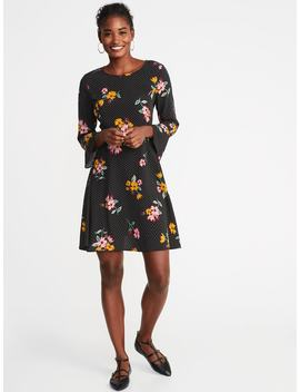 Fit & Flare Ruffle Sleeve Dress For Women by Old Navy