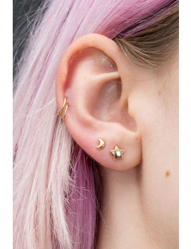 Gold Moon And Star Stud Earrings by Brandy Melville