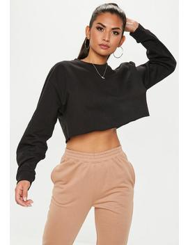Black Cropped Sweatshirt by Missguided
