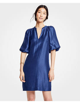 Shimmer Puff Sleeve Shift Dress by Ann Taylor