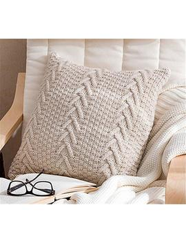 "Decorative Cotton Knitted Pillow Case Cushion Cover Double Cable Warm Throw Pillow Covers For Bed Couch 18"" X 18"" (Cover Only, Beige) by Anduuni"