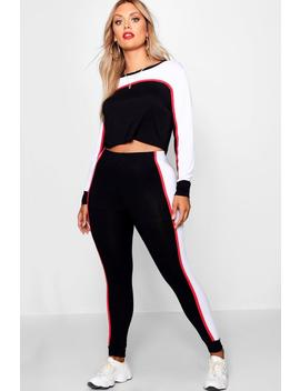 Plus Contrast Colour Block Loungewear Set by Boohoo