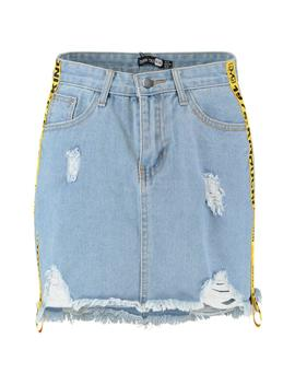 Tape Side Distressed Denim Skirt by Boohoo