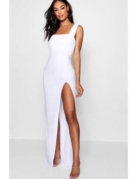 Tall Square Neck Side Split Maxi Dress by Boohoo