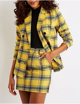 Plaid Double Breasted Boyfriend Blazer by Charlotte Russe