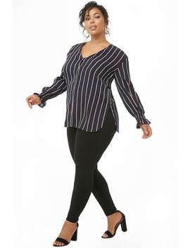 Plus Size Striped V Neck Shirt by Forever 21