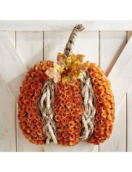 "Wood Curl Pumpkin 22"" Wreath by Grateful Harvest Collection"