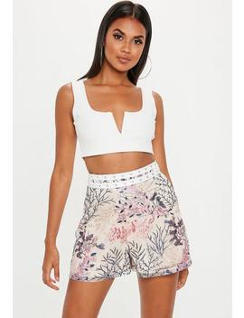 Nude Embroidered Lace Ladder Shorts by Missguided