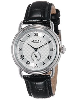 Rotary Quartz Stainless Steel And Leather Casual Watch, Color Black (Model: Gs02423/21) by Rotary