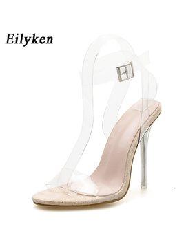 Eilyken 2018 New Pvc Jelly Sandals Crystal Open Toed Women Transparent  Thin Heels Sandals Buckle Strap Pumps 12 Cm Size 35 42 by Eilyken