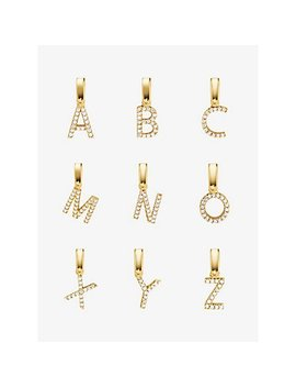 14 K Gold Plated Sterling Silver Pavé Alphabet Charms by Michael Kors