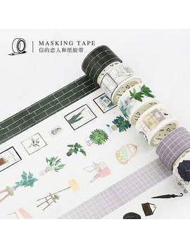 15mm/30mm Northern Europe Green Plant Wall Brick Modern Boy Girl Home Decoration Washi Tape Diy Planner Scrapbook Masking Tape by Season Leaf