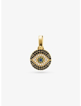 14 K Gold Plated Sterling Silver Pavé Evil Eye Charm by Michael Kors