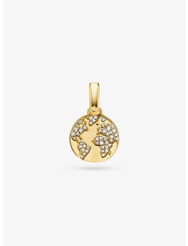 14 K Gold Plated Sterling Silver Pavé World Charm by Michael Kors