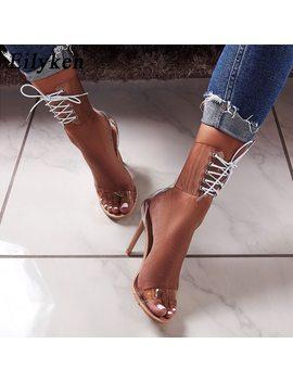 Eilyken 2018 Pvc Jelly Lace Up Sandals Open Toed High Heels Sexy Women Transparent Heel Sandals Party Pumps 11 Cm Sales Promotion by Eilyken