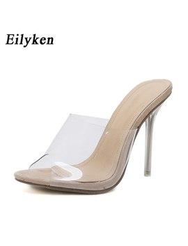 Eilyken 2018 New Pvc Jelly Sandals Crystal Open Toed Sexy Thin Heels Crystal Women Transparent Heel Sandals Slippers Pumps by Eilyken