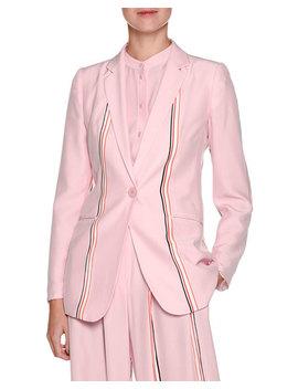 Single Breasted Sport Stripe Silk Blazer by Emporio Armani