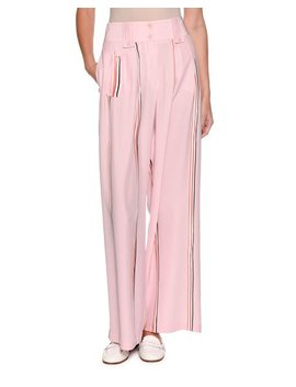 Wide Leg Silk Trousers With Sport Stripe Trim by Emporio Armani