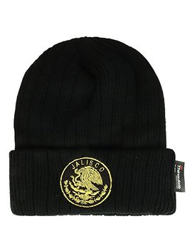 Trendy Apparel Shop Mexican Eagle Emblem Embroidered 3 M Thinsulate Ribbed Cuff Beanie by Trendy Apparel Shop