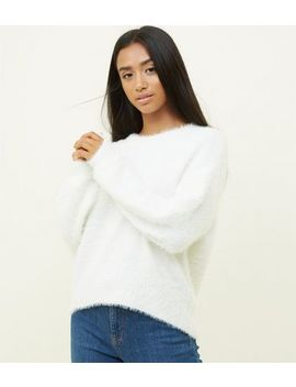 Petite Cream Fluffy Jumper by New Look