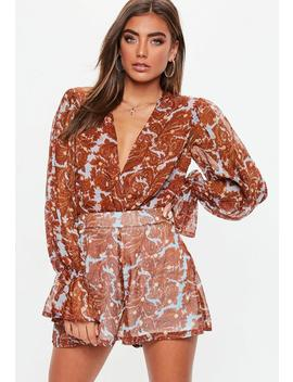Rust Paisley Plunge Bodysuit by Missguided