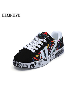 Hzxinlive 2018 Autumn Woman Flat Casual Shoes Couple Shoes Lovers Printing Fashion Ladies Vulcanized Shoes Zapatos De Mujer Wild by Hzxinlive