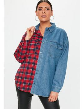 Plus Size Denim Blue Check Shirt by Missguided