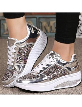 Klv 2018 New Women's Ladies Wedges Sneakers Sequins Shake Shoes Fashion Girls Sport Shoes Tenis Feminino Plataforma Mules Hot #8 by Klv