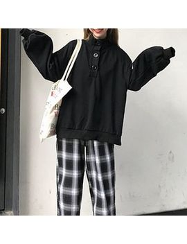Shalala   Plain Mock Neck Long Sleeve Pullover / Plaid Pants by Shalala