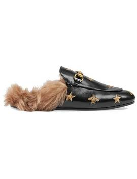 Gucci Princetown Embroidered Leather Muleshome Women Gucci Shoes Loafers by Gucci