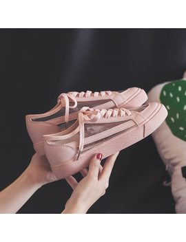 Women Summer Sneakers Pink Solid Color Female Shoes Transparent Lace Up 2018 New Trending Style Casual Shoes Flats Size 35 40 by Baodao