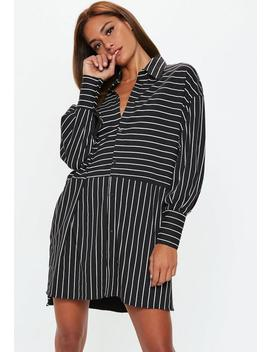 Black Oversized Stripe Long Sleeve Shirt by Missguided