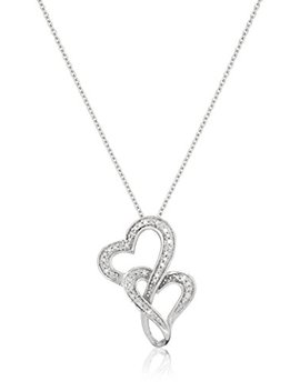 "Sterling Silver Diamond Accent Double Heart Pendant Necklace, 18"" by Amazon Collection"