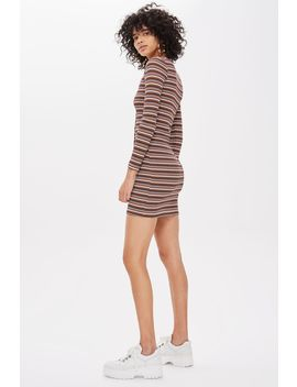 Long Sleeve Striped Button Mini Dress by Topshop
