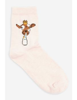 Cow And Milk Tube Socks by Topshop