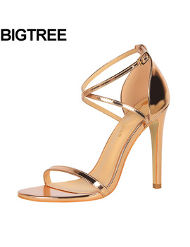 Bigtree Sexy Women High Heel Metallic Faux Patent Leather Sandals Cross Strap Rome Shoes Stilettos Wedding Bridesmaid Pump 34 40 by Bigtree