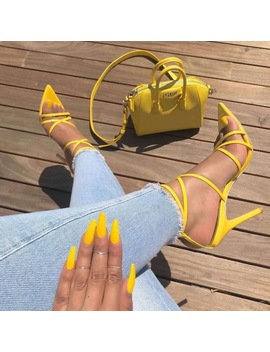 Poadisfoo Sexy Yellow Sandals Ladies Sandals Summer New Pointed Fish Mouth Cross Stilettos Sharp Point Toe 11.5cm Heels Zl 222 5 by Poadisfoo