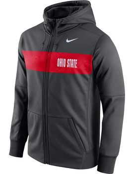 Nike Men's Ohio State Buckeyes Anthracite Therma Fit Full Zip Sideline Hoodie by Nike