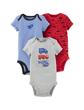 Short Sleeve Bodysuits, 3pk (Baby Boys) by Child Of Mine By Carter's
