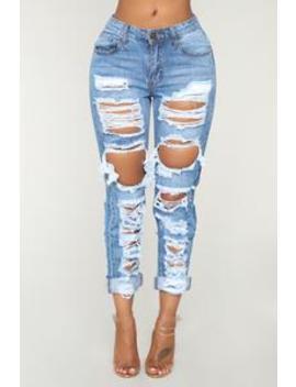 No Sensor Distressed Denim Jeans   Medium Blue Wash by Fashion Nova